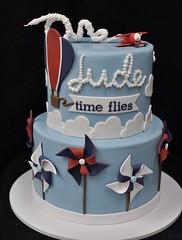 Air themed birthday cake (jennywenny) Tags: pinwheels hot air balloon airplane birthday cake first