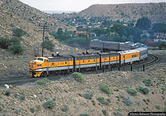F9 Trio Entering Price Canyon (jamesbelmont) Tags: train locomotive railroad drgw 5771 riograndezephyr helper utah streamliner passenger