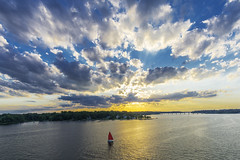 Annapolis at Sunset (johngoucher) Tags: approved sunset sun sailboat severn severnriver annearundelcounty annapolis maryland river bridge water evening clouds sky wideangle sonyimages sonyalpha nature outdoors rokinon12mm rokinon