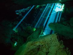Cavern Light Show (altsaint) Tags: 714mm chacmool gf1 mexico panasonic cavern caverndiving cenote scuba underwater