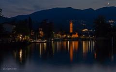 Lago di Lugano (Italy, Switzerland) (christian.rey) Tags: caslano ticino suisse ch bluehour heurebleue chiesa lavano italia italy swiss lagodilugano lugano lac lago lake see sony alpha 77 1650 poselongue longexposure