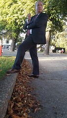 Mr. Cocky - Smoking Businessman 10 (TBTAOTW2011) Tags: hidden camera candid photo businessman business man suit tie pants brown tan leather dress shoe shoes feet foot wingtips wingtip daddy dad belly mature old smoking cigar cigarette grey hair