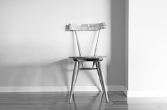 A favourite chair (flowrwolf) Tags: 117in2017 117picturesin2017 68apieceoffurniturefor117in2017 minimalism chair woodenchair monochrome blackandwhite bw paintsplatteredchair afavouritechair whitewalls woodenfloor shinyfloor batteredchair sony sonya65 wood bright vivid indoor indoors inside inmyhouse smileonsaturday lessismore flowrwolf