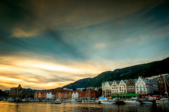 Sunset over Bergen (Mike_Mulcahy) Tags: bergen hordaland norway no sunset fuji fujifilm xt1 1855mm town houses shore colouir teal