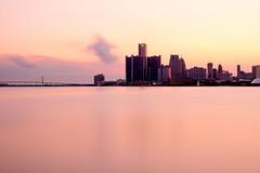 _7100484 (elsuperbob) Tags: detroit detroitriver michigan river downtowndetroit belleisle skyline skyscrapers sunset longexposure nd1000