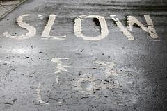 Slow (just.Luc) Tags: slow pavement monochrome monochroom monotone bw bn zw nb letters lettres word woord mot street straat rue strasse fiets bicycle bicyclette edinburgh edinbourgh royaumeuni verenigdkoninkrijk unitedkingdom grootbrittanië grandebretagne greatbritain scotland schotland ecosse