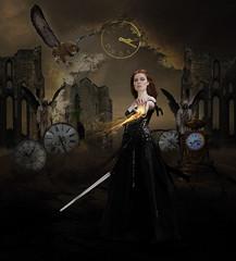 Vaincre le temps (Claude-Yolande) Tags: sword clocks owl fantasy magic imagination flame
