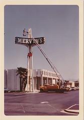 Working on Mervyn's Sign - San Jose, Calif. - April 1969 (hmdavid) Tags: vintage sign signage federal federalsign roadside advertising neon 1960s california mervyns truck 1969 sanjose