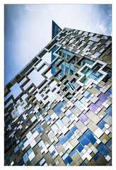 Cubed (Dave Fieldhouse Photography) Tags: summer architecture modernarchitecture modern urban colour birmingham thecube sunshine reflections structure offices streetphotography fujifilm fujixpro2 fujinon35mmf2 fujinon wwwdavefieldhousephotographycom popart portrait