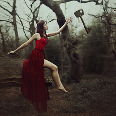 The Path has Spoken (StephaniePearl ☪) Tags: conceptual fantasy magic key woods forest red surreal fashion