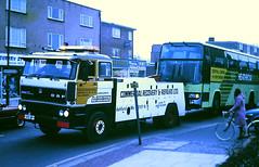 Slide 099-70 (Steve Guess) Tags: addlestone surrey england gb uk wy lcbs london country green line bus coach leyland tiger btl berkhof flightline 767 suspended tow daf 3300 recovery truck wrecker c141spb btl41