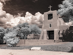 San Miguel Mission exterior (Ed Rosack) Tags: newmexico building infrared travel buildingandarchitecture panorama cross ©edrosack vacation santafe church usa ir
