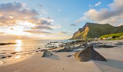 Shark fin-like Stone (Ranveig Marie Photography) Tags: vikten lofoten norge norway beach night sun midnightsun sunset sand stone rock flakstad flakstadøya nordland nordnorge