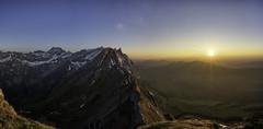 Just a sunset (Martin Häfeli Photography) Tags: boring sunset mountains switzerland berge alpstein appenzell nikon d7200 nikkor pano panoramic mountainscape mountainview peaks säntis schäfler