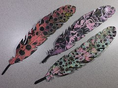 Paper feathers (juliajae) Tags: justaddart fb swap exchange paper feathers feather gelli print paint washi