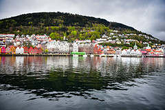 Vågen Harbor in Bryggen - Bergen Norway (mbell1975) Tags: hdr bergen hordaland norway no vågen harbor bryggen norge noreg norwegen noruega norvège norvegia 노르웨이 挪威 норвегия norwegian vagen water inlet harbour cove tyskebryggen hanseatic mount floyen mt unesco whs worldheritagesite world heritage site cloudy overcast
