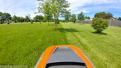 The Joys of working in your backyard on a beautiful day! (Ricky L. Jones Photography) Tags: wisconsin lawn mower grass vacation dayoff midwest yardwork lawnwork spring springtime green trees tractor orange caledonia