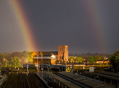 station rainbow (Mike Ashton) Tags: shrewsbury station railway sky storm rianbow