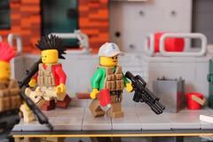 Pew pew and ax! (Devid VII) Tags: devidvii detail pewpew military crew ax weapon lego moc diorama scene post apoc war