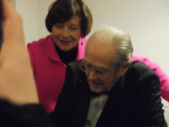 P3102519 Newlyweds composer Michel Legrand and piquant actress Macha Méril after the concert (oberondilettante) Tags: michellegrand machaméril signing dédicace actrice actress compositeur composer couple pink black noiir rose