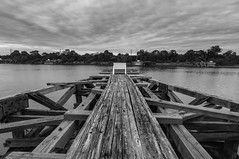 The Wooden Relic (Rob Pitt) Tags: the wooden relic old rotting landing stages entrance manchester ship canal wirral blackwhite monography sign easthamferry wood planks jetty rotten tokina 1116 uk england north west merseyside rob pitt