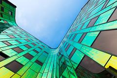 L'arc en ciel offices (Guy Goetzinger) Tags: office deventer rainbow building modern architecture blue mirror best trend nikon d800 holland netherland bottomsup focus goetzinger perspective