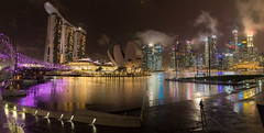 Singapore marina under the storm (mathieuo1) Tags: singapore marina bay building sly clouds skycrapper landscapes city cityscape iconic modern art mbs asia night reflection illumination light color bridge helix buildings shore culture rich explore discover panorama panoramic capital independance free money le longexposure gitzo cityshore wide wideangle nikon nightscape nightshoot architecture modernart artsciencemuseum shopping sky skyscape skyline flickr awesome storm mist fog mathieuo