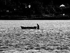 pescatore (fisherman) (pjarc) Tags: europe europa grecia greece corfù pescatore fisherman 2017 foto photo bw black white acqua water mare sea uomo man momento moment digital nikon dx barca