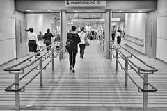 Ponytail Swing (Douguerreotype) Tags: uk gb britain british england london city urban bw blackandwhite mono monochrome tube metro subway underground tunnel sign people transport travel commute