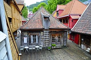 La casa, quizás, mas fotografiada de Bergen, Noruega