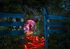 Peeping around neighbors. (Nikolas Fotos) Tags: lightpainting lightart llightpainting longexposurephoto longexposure lichtmalerei lihgt lichtkunst lightpaintingphotography orb sphere ericpare tubestories nightshot nightphoto nightphotography nightscape night nature