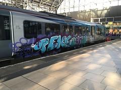 "Graffiti Covered TPE Class 185, 185112 (37190 ""Dalzell"") Tags: tpe transpennineexpress northernstar silvergrey turquoisepurple graffiticovered firstgroup siemens desiro class185 185112 piccadilly manchester"