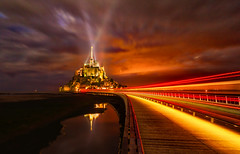 Mont Saint Michel In The Dark (Stuck in Customs) Tags: france montsaintmichel stuckincustomscom treyratcliff europe french normandy lowernormandy calvados lisieux capital paysd'auge romancatholic catholic cathedral church basilica religion monastery night nighttime 80stays rcmemories ritzcarlton ocean island glowing longexposure outside outdoors outdoor