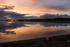 Midsummer scenery over a lake in Finland (VisitLakeland) Tags: finland lakeland scenery lake night midnight nightless keskiyö keskikesä yötön yö campfire nuotio heijastus reflection shore beach ranta hiekkaranta