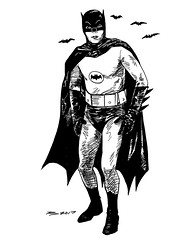 Caped Crusader (PiscesDreamer) Tags: batman adamwest brucewayne darkknight rip capedcrusader superhero actor tribute memorial inkdrawing art artwork penandink