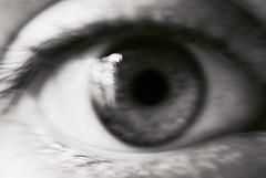 Blurry Eye 10 (Callums art) Tags: bw blackandwhite fineart sony dslr photoshop filter monochromatic monochrome mono shadow light blurred blur blurry abstract surreal portrait selfportrait myself i self macro closeup face eyelash pupil eyes iris eye