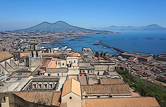 Naples - view from Castel Sant'Elmo (SomePhotosTakenByMe) Tags: photoeffect illustration castelsantelmo festung fortress urlaub vacation holiday italy italien naples napoli neapel city stadt outdoor vomero gebäude building architektur architecture downtown innenstadt meer sea ocean ozean mittelmeer tyrrheniansea tyrrhenischesmeer mediterraneansea golfvonneapel gulfofnaples certosadisanmartino church kirche panorama aussichtspunkt viewpoint skyline effect