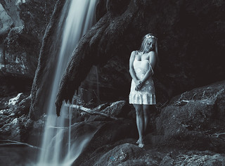 The girl of the waterfall
