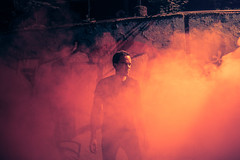 The Light Flare Experience Series (Maximecreative) Tags: smoke light flare urban promotion vedrandj red atmosphere scenery geneva photoshoot sigma35mmf14artcanon6dphotoshopcc explore walls graffiti ambiant street art portrait