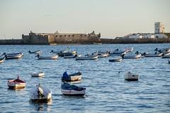 Julio. From afar (inma F) Tags: cadiz paisaje verano playa beach sea boats mar tarde castillo