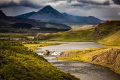 The fishing spot (Elin Laxdal) Tags: river waterfall mountains trees summer green salmon flyfishing landscape sun norðurá laxfoss iceland baula canonflickraward