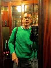 Green man: Paul in elevator at Hotel Royal, Gothenburg, Sweden (Paul McClure DC) Tags: gothenburg göteborg sweden sverige july2015 paulmcclure hotel