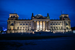 Reichstag Building parliament illuminated at night in Berlin (arnaud_martinez) Tags: berlin bundestag dome germany light night reichstag reichstagsgebäude building europe european flag german glass house iconic illumination imperial institution landmark meeting parliament place
