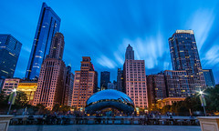 Clouds over Cloud Gate (Ian Allon) Tags: chicago illinois unitedstates us longexposure urban cityscape bluehour reflections art sculpture skyscrapers towers clouds park cloudgate thebean samyang leefilters sony a6500