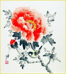 Tree peony and tit (Japanese Flower and Bird Art) Tags: flower tree peony paeonia suffruticosa paeoniaceae bird tit paridae isao akita nihonga shikishi japan japanese art readercollection