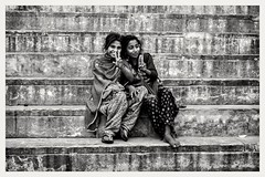 "That one friend who stays with you when nothing is left is called ""A Best Friend"" (navith_k) Tags: friendship bestfriends soulsisters bestfriendsforlife varanasidiaries lifeinindia dailylifeinindia travelphotography varanasi ghats streetphotography streetlife younggirls monochrome blackandwhite blackandwhitephotography canonmiddleeast canonindia canonphotographer canonme"