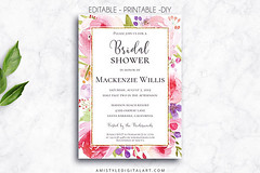 Bridal Shower, Botanical (Amistyle Digital Art) Tags: bridalshower showerinvitation shower bridal bride wedding groom invitation invite weddinginvitation stationery weddingstationery watercolor bigday greatday happy love floral watercolorflower
