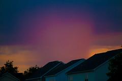 Pink Rain (pluffmud2010) Tags: rain storm sunset alpenglow aiken sc houses roofs thunderstorm outdoor light meteorology clouds precipitation canon