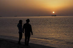 July morning with love (ИвайлоВеликов) Tags: landscape morning sea sunset people color water beach sun ocean silhouette love evening seascape dawn seashore dusk bulgaria ships romance backlit ngc