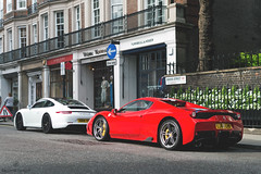 Combo (Beyond Speed) Tags: ferrari 458 speciale aperta specialea 458speciale porsche 911 991 gts carrera supercar supercars car cars carspotting nikon v8 red white stripes combo automotive automobili auto london mayfair